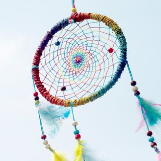 Hand-woven cotton and linen rainbow color hidden dream net strap - colorful paragraph color 16 cm (large)