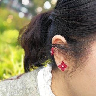 tatted flower earrings(red) / gift / Swarovski crystal / ear clip / customize