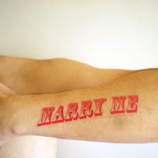 Propose small things / MARRY ME / tattoo sticker pink section