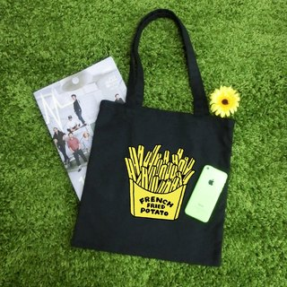 Fresh Fries - Shoulder Canvas Tote Bag / Minimal Black