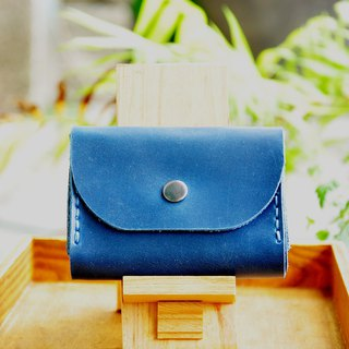 Double-layer card leather coin purse - Prussian blue leather