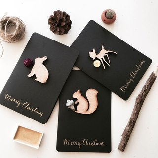 Squirrel plus Li dried fruit Western calligraphy Christmas card