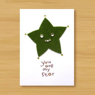 Handmade small turf card _ You are my star ... Valentine card, mother card, father card