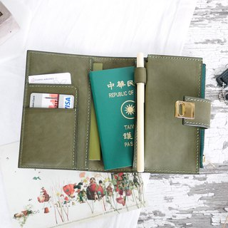 CHF04 Square Button Passport Holder Passport Holder Olive Green Olive