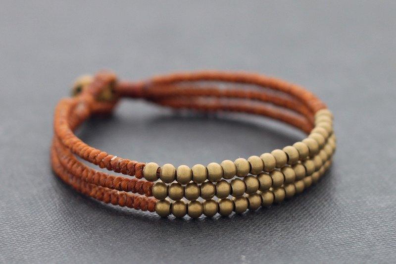 生鏽手鐲串珠手鐲編織水ame繩原料黃銅