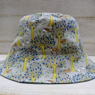 Forest, fox, hedgehog & cowboy blue double fisherman hat sun hat