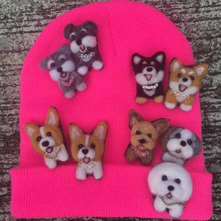 Wool felt cute dog brooch