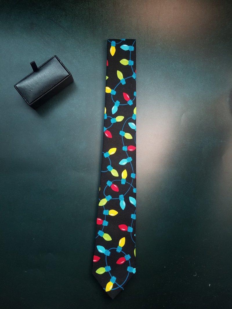 黑色彩燈系列領帶創意印花百搭bolotie