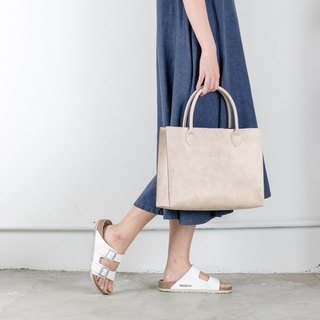 Leather Tote Bag (Ivory)
