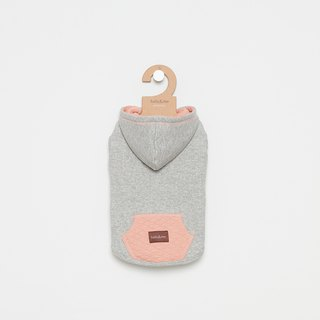 [Tail and me] pet clothes hooded diamond pocket top gray powder
