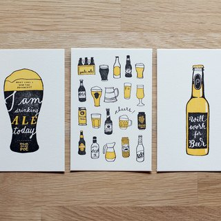 BEER Set of 3 Mini Letterpress Prints