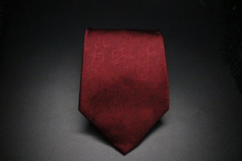 紅色暗紋真絲領帶/婚禮新郎伴郎領帶