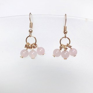 Puputraga Shangcai Caihua Life / Madagascar Pink Crystal Natural Stone Fresh Earrings
