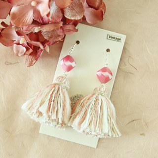 Limited Nostalgic Tassel Earrings Vintage Beads Pink Mesh Line Silver Earrings Ear Clips OK