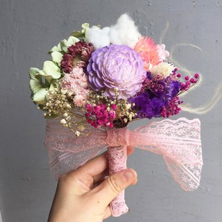 Purple main flower bride bouquet bridesmaid bouquet of dried bouquets Valentine's Day is not withered flowers bouquet bunny bouquet small bouquet (diameter 16cm)