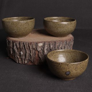 Quail egg pattern gray glaze teacup group (three in total)