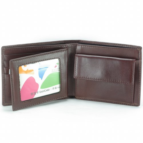 Collection Men's Short Clip Leather Wallet 7 Cards Photo Coin Bag Brown Premium Custom Lettering Service
