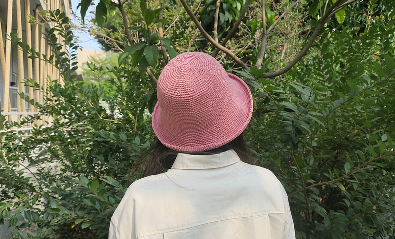 A mother's hand-made hat-simple fisherman hat / retro cherry blossom powder / mother's day / gift