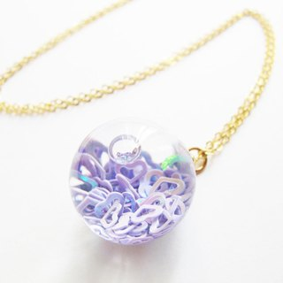 *Rosy Garden* purple heart shape glitter with water inisde glass ball necklace