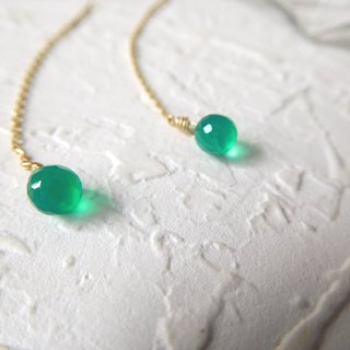Pure 14K gold droplets of green jade with the ear line