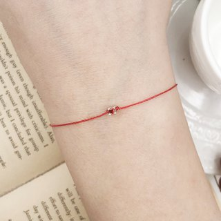*Le Bonheur Line Happiness Line*9mm sterling silver 2.8mm red diamond four-claw drill strawberry / red bracelet redline mini round temperament temperament red rope
