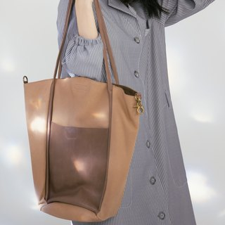 Thin belt design leather tote mother 2 package - light brown brown