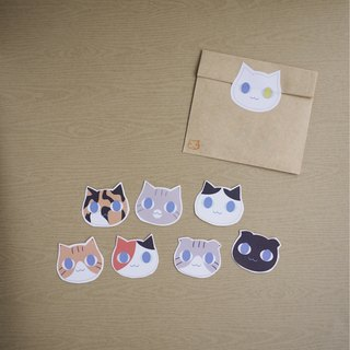 Hand Cut Stickers – Cats Heads-Orange