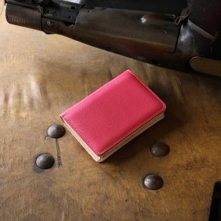 日本製造 牛皮 名片夾 名片盒 粉紅色 Weinheimer made in JAPAN handmade leather card case
