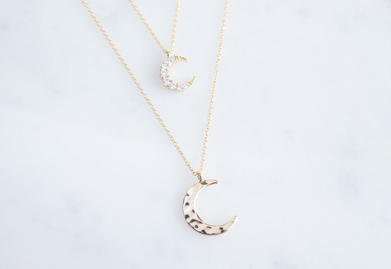 【14KGF】Necklace,Embossed Crescent Moon(M)