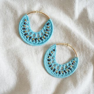 Hand-woven earrings bohemian holiday sea blue