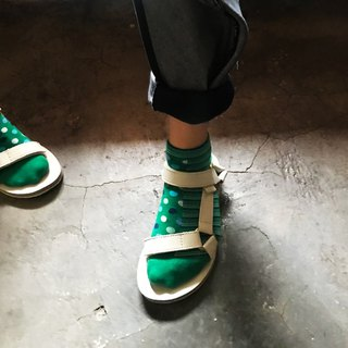 靴下アクアドット / irregular / socks / green / stripe / dot