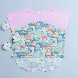 Double yarn T-shirt - pink hedgehog forest hand made non-toxic children's clothing T-shirt cotton gauze towel