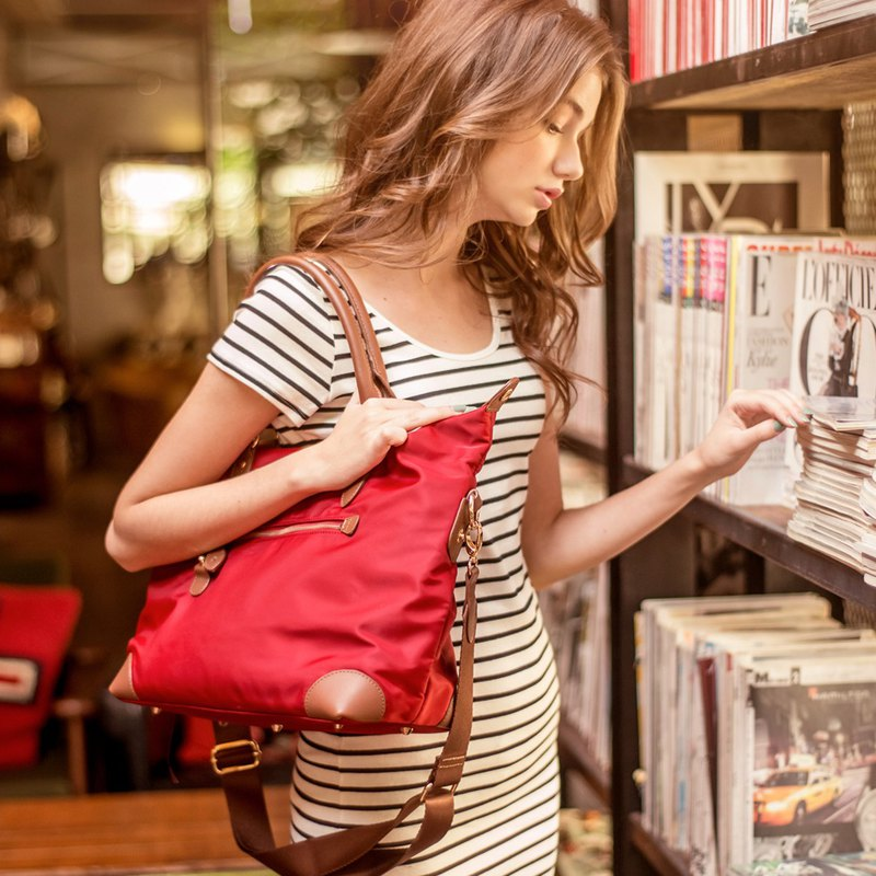 Lucy leather side backpack [red] + 2 inner pocket