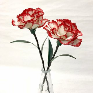 White Leather Carnation with Red Edge