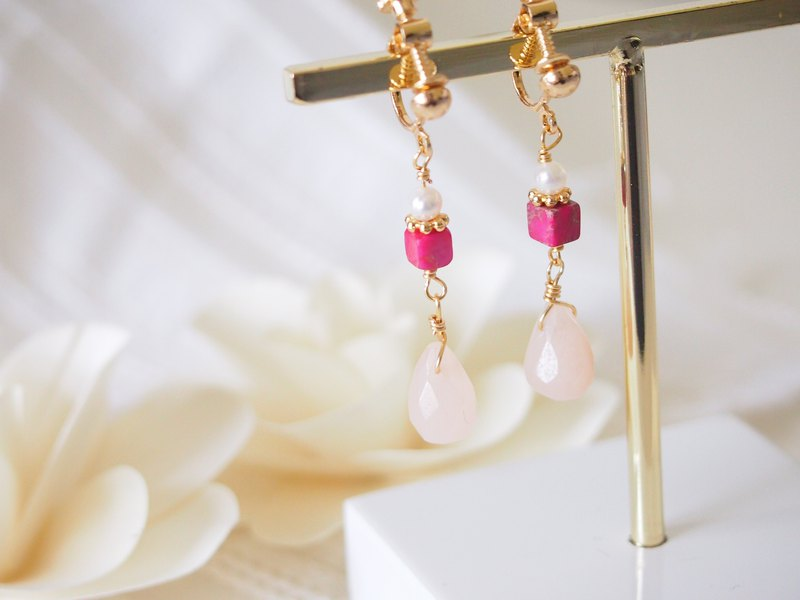 Anniewhere | Existence | Emperor Stone Peach Stone Pearl Earrings (can be changed without ear piercing)
