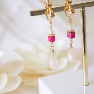 Anniewhere | Existence | Imperial Stone Peach Pearl Earrings (without ear cutouts)