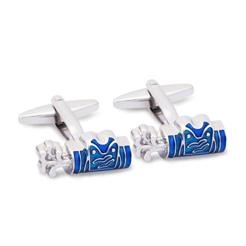 Golf Bag Cufflinks with Blue Enamel
