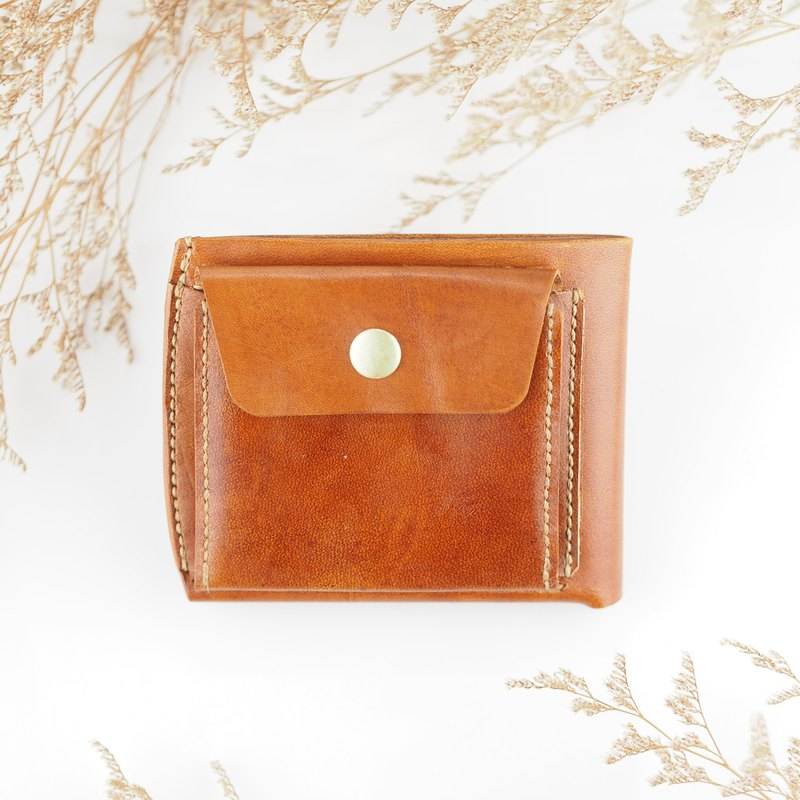 Simple leather short clip wallet brown handmade