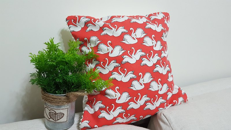 Nordic fairy tale, retro pastoral style orange red white swan pattern white small fur ball side pillow/pillow