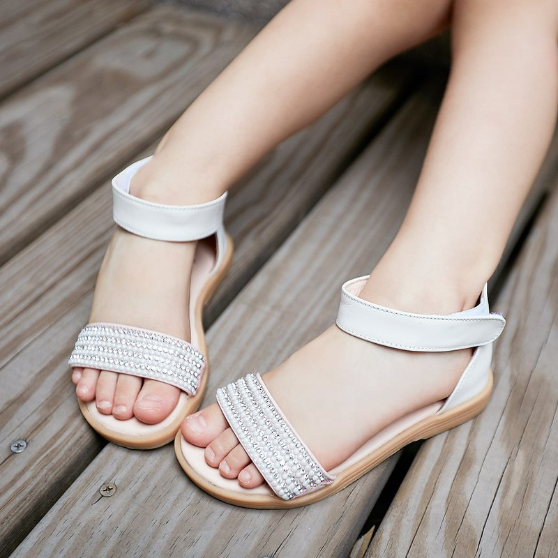 Diamond Candy Leather Children's Sandals - Milk Powder