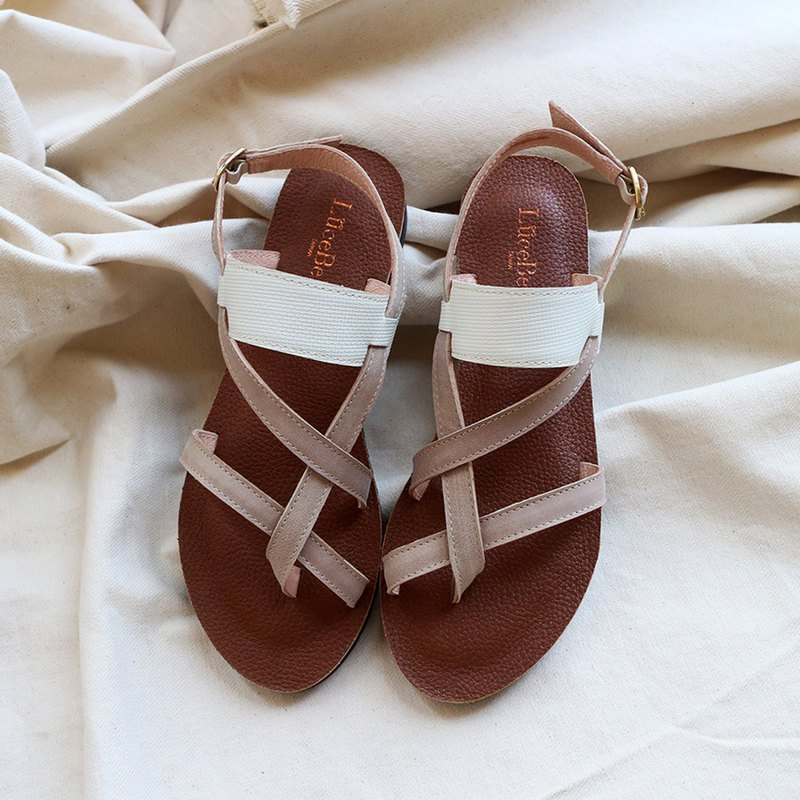 [10 miles south] sheepskin Roman sandals - gray white