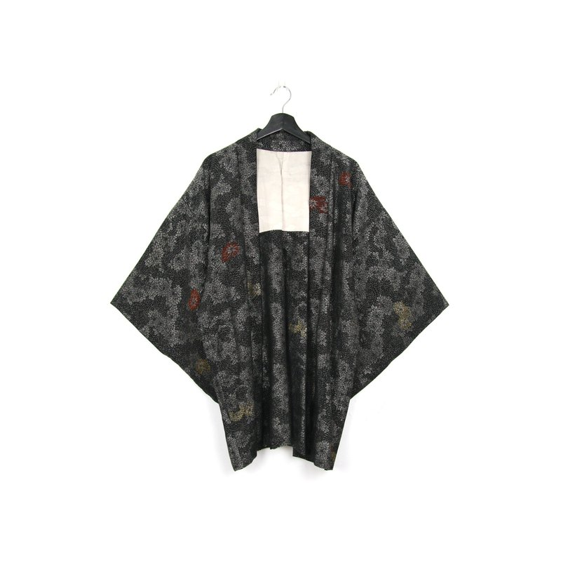 Back to Green-Japan brought back feather weaving silver line glitter onion/vintage kimono