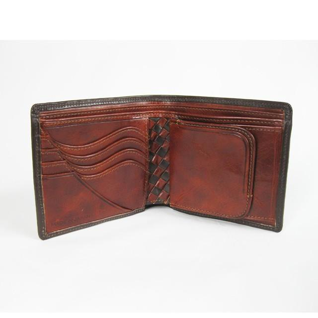 """Basic"" wallet bridle leather <D.brown> × domestically produced calf leather <Brown>"