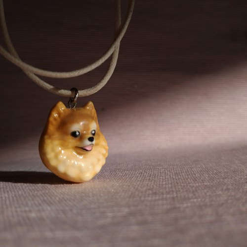 Three-dimensional printing ~ Hand-painted squirrel dog pendant with wax hand strap