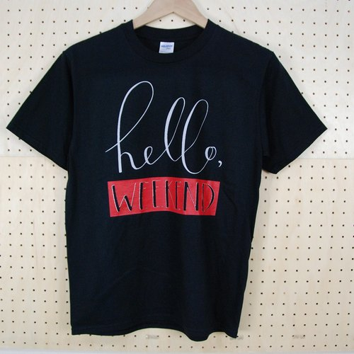 "New Designer-T-shirt: [hello weekend] Short Sleeve T-shirt ""Neutral / Slim"" (Black) -850 Collections"