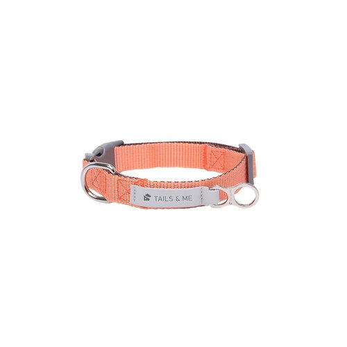 [Tail and Me] Classic Nylon Collar Pink Orange/Dark Brown L