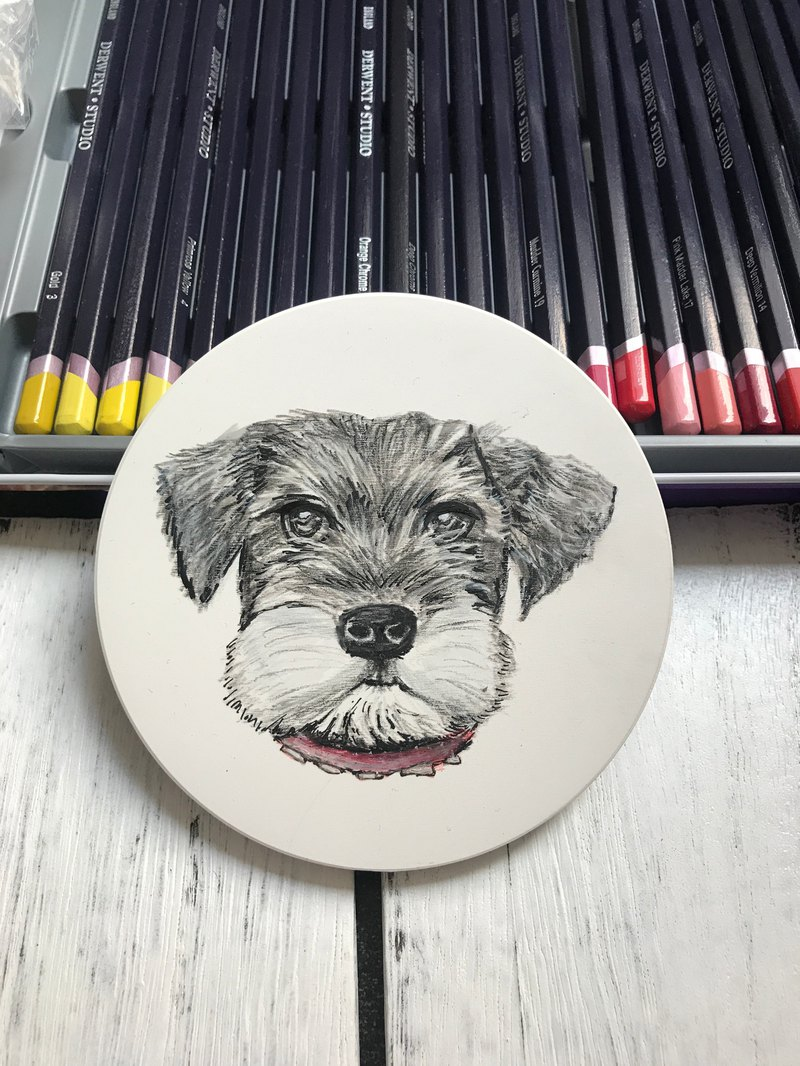 Hand painted Schnauzer ceramic coasters