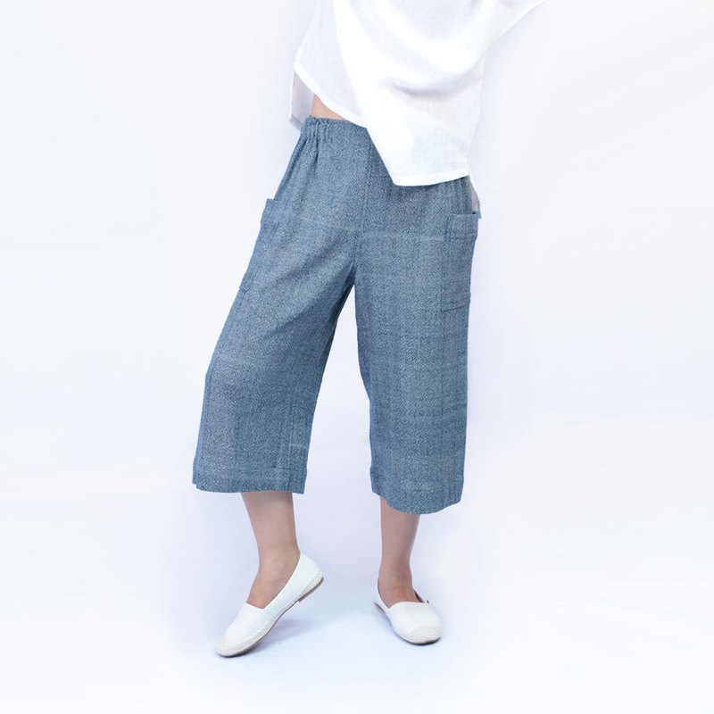 Indigo Cotton Pants, Loving Folksy, Blue, Indigo