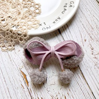 Roll Teddy Lamb Cashmere Bow / Light Gray + Tender Purple