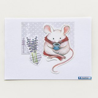 Postcard fat rat tea/mouse postcard